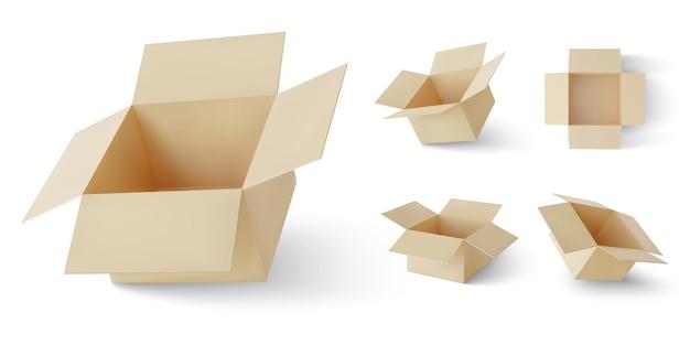 Conjunto de caixas de entrega realistas de papelão marrom