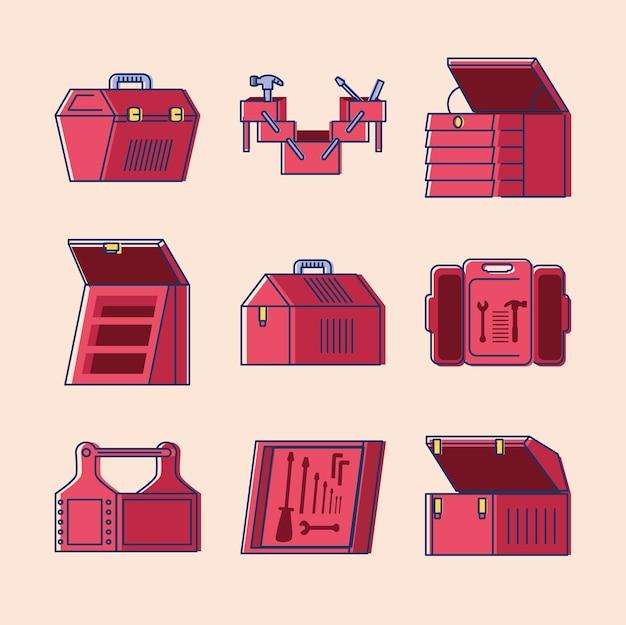 Conjunto de caixas de ferramentas com equipamentos