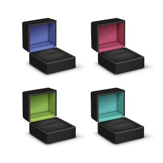 Conjunto de caixas de jóias de presente de veludo colorido vazio preto aberto