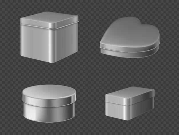 Conjunto de caixas de lata de metal
