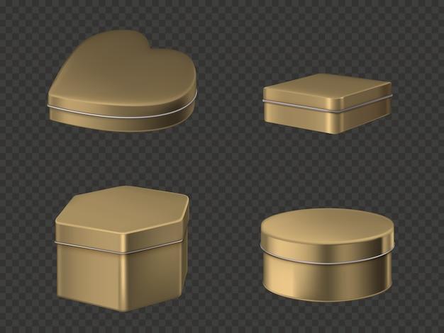 Conjunto de caixas de lata dourada
