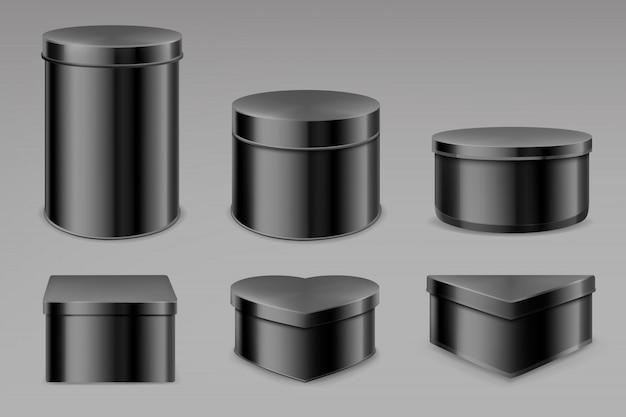 Conjunto de caixas de lata preta, frascos em branco para chá ou café