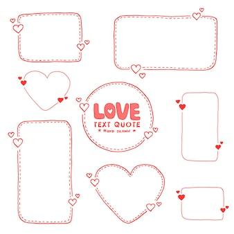 Conjunto de caixas de linha tracejada de citação de mão desenhada. estilo doodle.