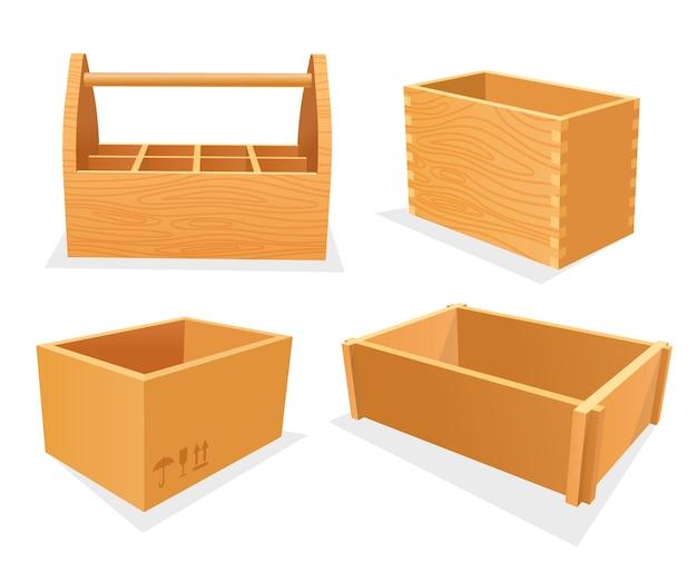 Conjunto de caixas de madeira, caixas vazias ou recipientes domésticos isométricos de caixa de ferramentas, embalagem aberta de armazenamento, compensado ou capacidade de madeira, cesta de jardim
