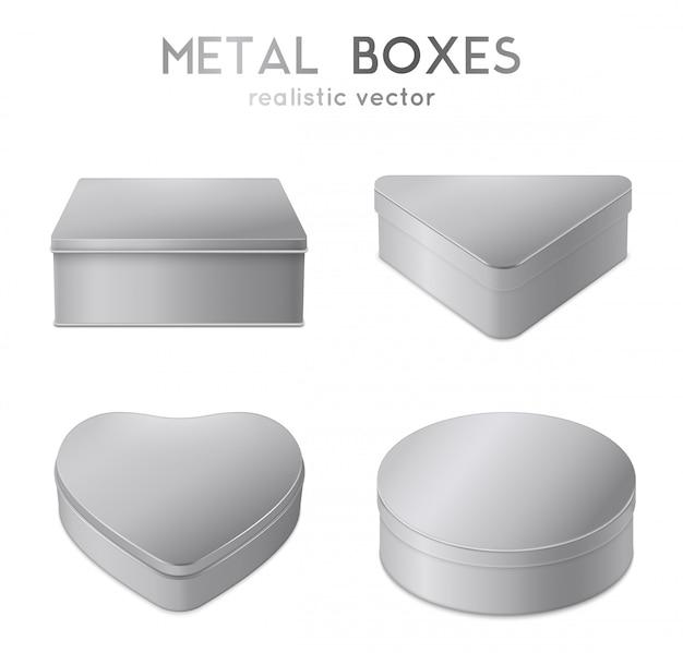 Conjunto de caixas de metal realista