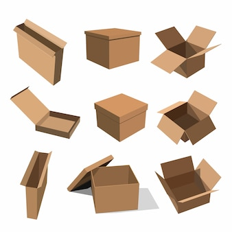 Conjunto de caixas de papel amarelo para embalagem de mercadorias
