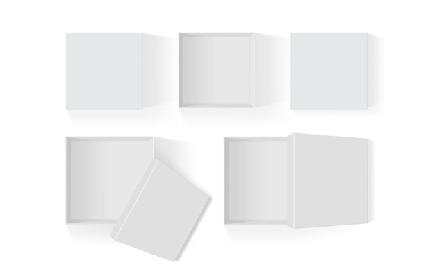 Conjunto de caixas de papel branco abertas isoladas no fundo branco
