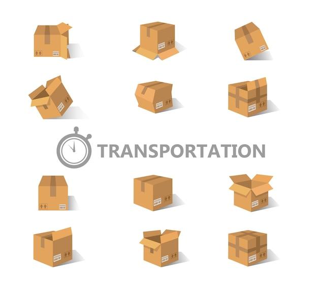 Conjunto de caixas de papelão abertas e fechadas