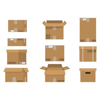 Conjunto de caixas de papelão de pilha.