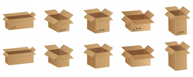 Conjunto de caixas de papelão, ilustração em vetor mercadorias frágeis