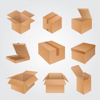 Conjunto de caixas de papelão isolado no branco