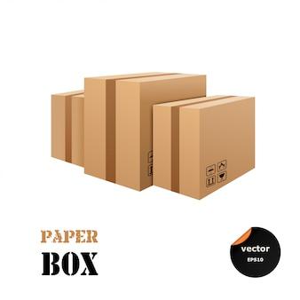Conjunto de caixas de papelão isolado no fundo branco.