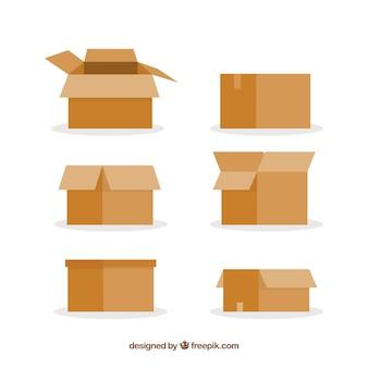 Conjunto de caixas de papelão para o transporte