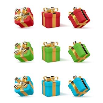 Conjunto de caixas de presente 3d embrulhadas em fita dourada isolada no branco