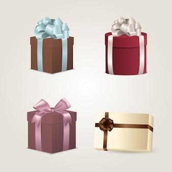 Conjunto de caixas de presente colorida com laços e fitas
