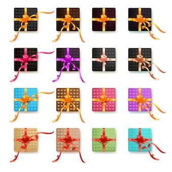 Conjunto de caixas de presente colorida realista com arcos e fitas, presente apresenta com padrão de coração