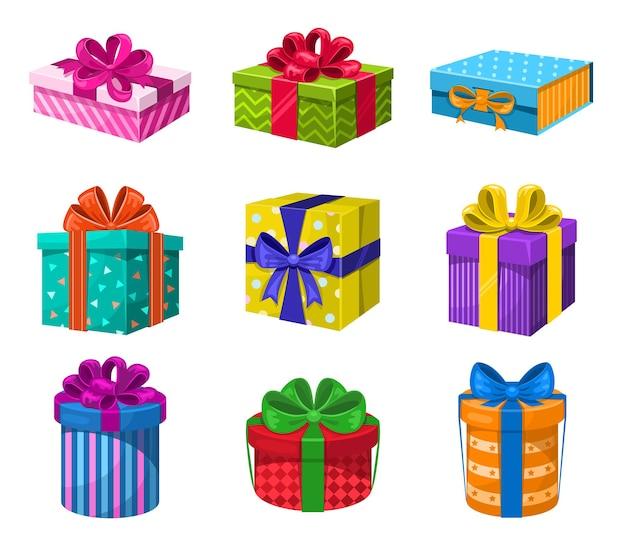 Conjunto de caixas de presente coloridas com fita e arcos. aniversário de aniversário de ano novo e vetor de natal