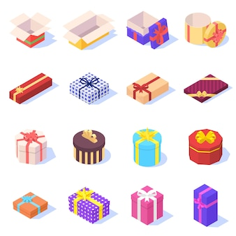 Conjunto de caixas de presente coloridas com fita em branco