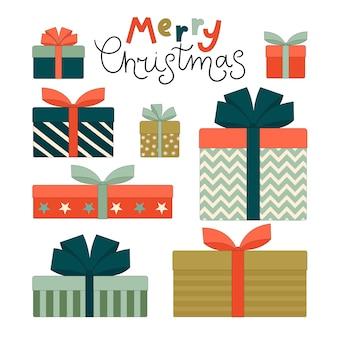 Conjunto de caixas de presente coloridas com laços para o natal