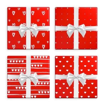 Conjunto de caixas de presente de dia dos namorados. coleção exclusiva de presentes com padrões