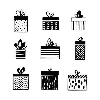 Conjunto de caixas de presente de mão desenhada