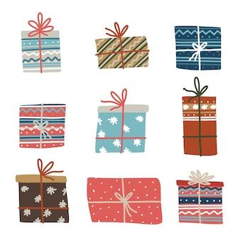 Conjunto de caixas de presente de natal de vetor fofo