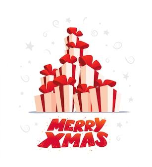 Conjunto de caixas de presente e presente em fundo branco. feliz ano novo, feliz natal, elemento de decoração de natal. bom para cartão de felicitações,,, base. estilo cartoon