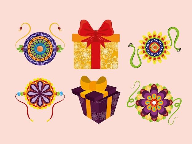 Conjunto de caixas de presente e pulseiras
