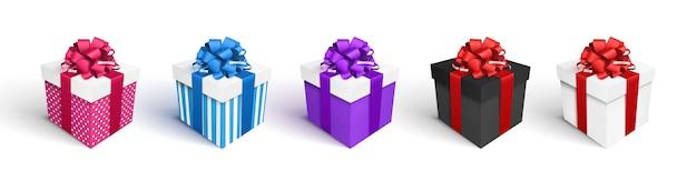 Conjunto de caixas de presente, isolado no branco