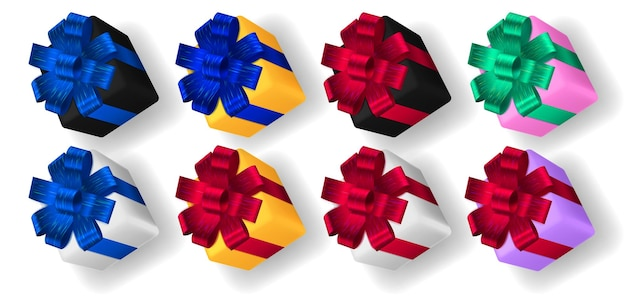 Conjunto de caixas de presente multicoloridas com fitas, laços e sombras