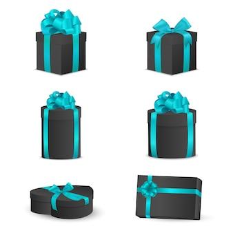 Conjunto de caixas de presente preta com laços e fitas azuis.
