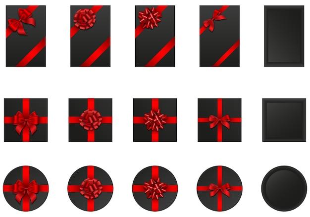 Conjunto de caixas de presente pretas com laços e fitas vermelhas. elementos black friday