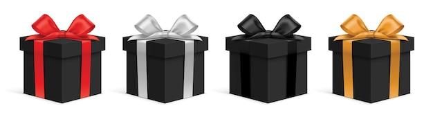 Conjunto de caixas de presente pretas realistas com fitas de cores diferentes