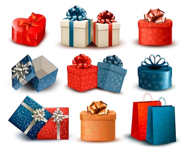 Conjunto de caixas de presente retrô colorido com laços e fitas. ilustração