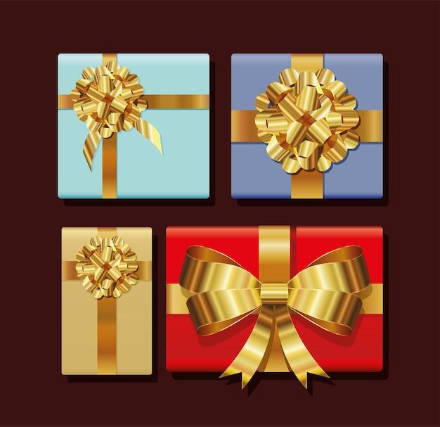 Conjunto de caixas de presentes com ilustração de fitas douradas