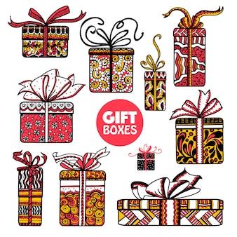Conjunto de caixas de presentes de férias doodle