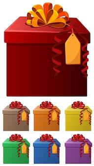 Conjunto de caixas de presentes em cores diferentes