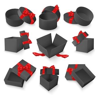 Conjunto de caixas pretas de presente com laço vermelho e fita. objetos 3d realistas isolados no fundo branco.