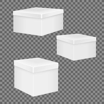 Conjunto de caixas realistas brancas.