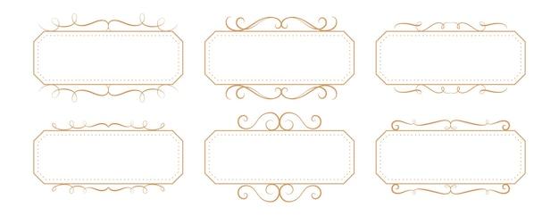 Conjunto de caixas retangulares com moldura vintage floral clássico