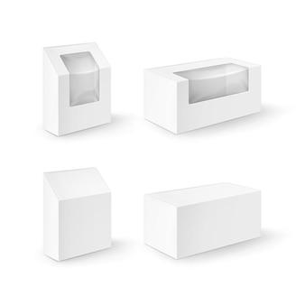 Conjunto de caixas retangulares de papelão branco em branco, embalagens para sanduíches, alimentos, presentes, outros produtos com janela de plástico close-up isolado no fundo branco