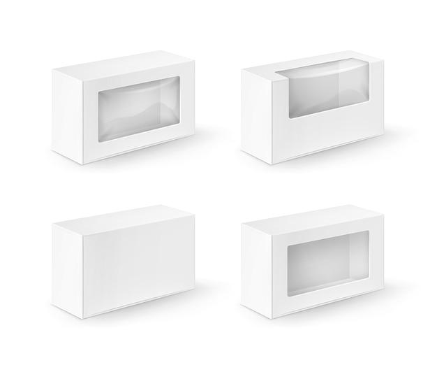 Conjunto de caixas retangulares de papelão branco em branco, embalagens para sanduíches, alimentos, presentes, outros produtos com janela de plástico mock up close up isolado no fundo branco