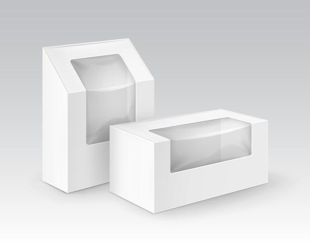 Conjunto de caixas retangulares de papelão branco em branco, embalagens para sanduíches