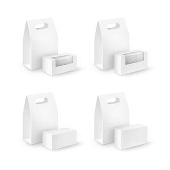 Conjunto de caixas retangulares de papelão branco em branco para levar lancheira embalagens para sanduíches, alimentos, presentes, outros produtos com janelas de plástico close-up isolado no fundo branco