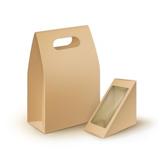 Conjunto de caixas retangulares de papelão marrom em branco, triângulo, alça para viagem, lancheiras, embalagens para sanduíches, alimentos, presentes, outros produtos com janela de plástico mock up close up isolated