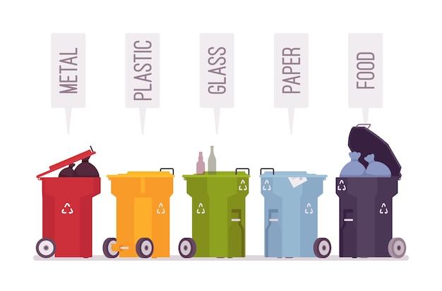 Conjunto de caixotes do lixo com metal, plástico, vidro, papel, comida