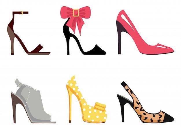 Conjunto de calçado feminino de ilustrações isoladas