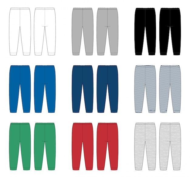 Conjunto de calças de desenho técnico para crianças. modelo de design de calças de crianças. cores brancas, cinza, pretas, azuis, vermelhas e verdes. tecido de mescla e listras. vista frontal e traseira.