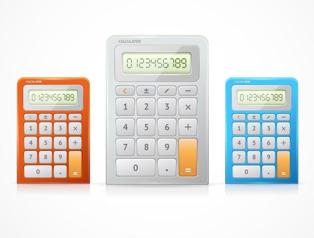 Conjunto de calculadora colorido. vista do topo