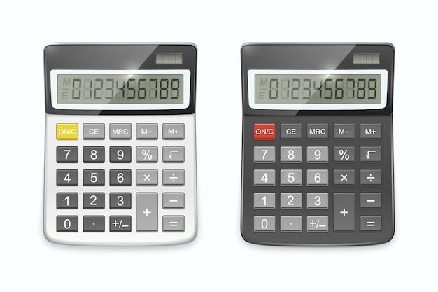 Conjunto de calculadora realista, isolado no fundo branco.